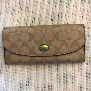Brown and Teal COACH Wallet